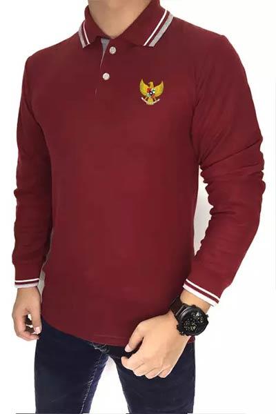 Kaos-Lengan-Panjang-Berkerah-garuda-warna-merah