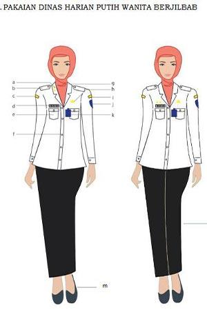 Model Baju dinas putih wanita berjilbab